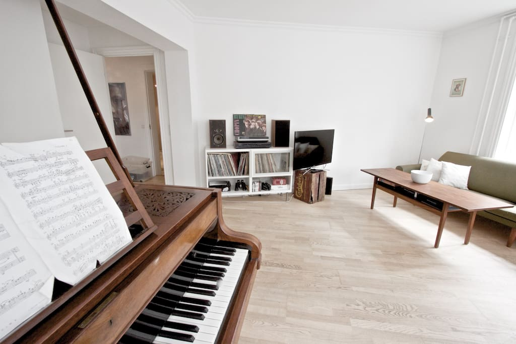 Living room! Old family piano. Many popuar danish songs written on that! :)