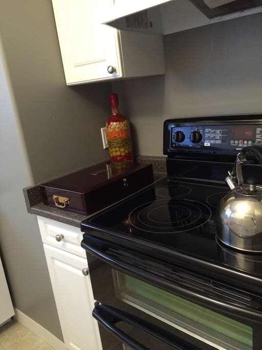 Kitchen stove glass top double oven and built in washer and dryer