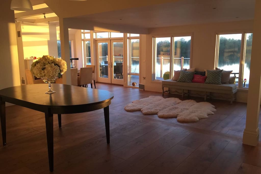 Open plan living room at sunset
