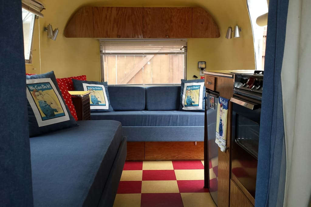 Both couches pull out to make beds.