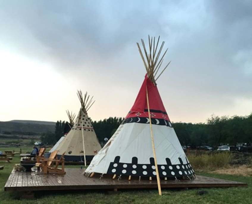 Tipi exterior and private deck