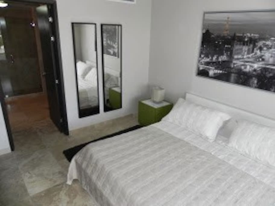 Master bedroom has a wide bathroom with shower and walking closet.