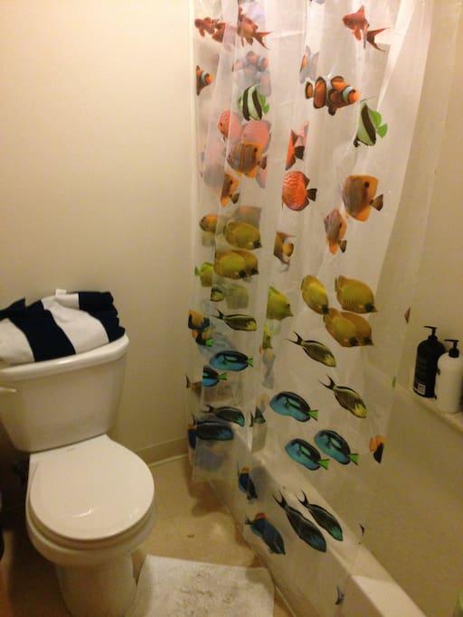 Bathroom, sink is located outside of bathroom