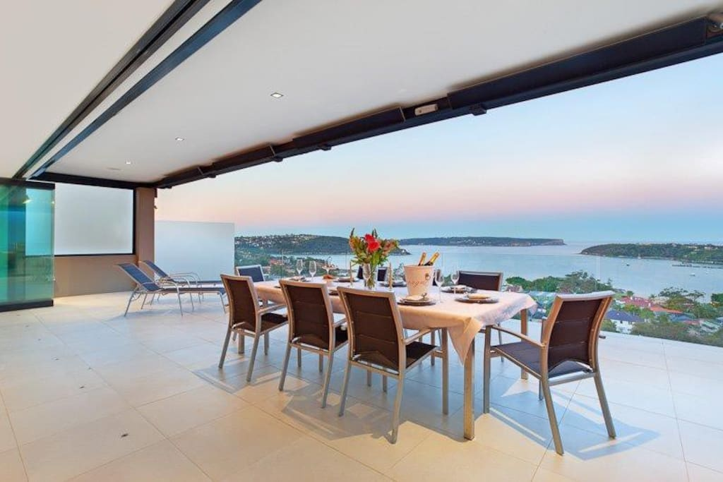 Main Balcony with spectacular Harbor views overlooking Manly, North Head, Middle Head and out to Pacific Ocean