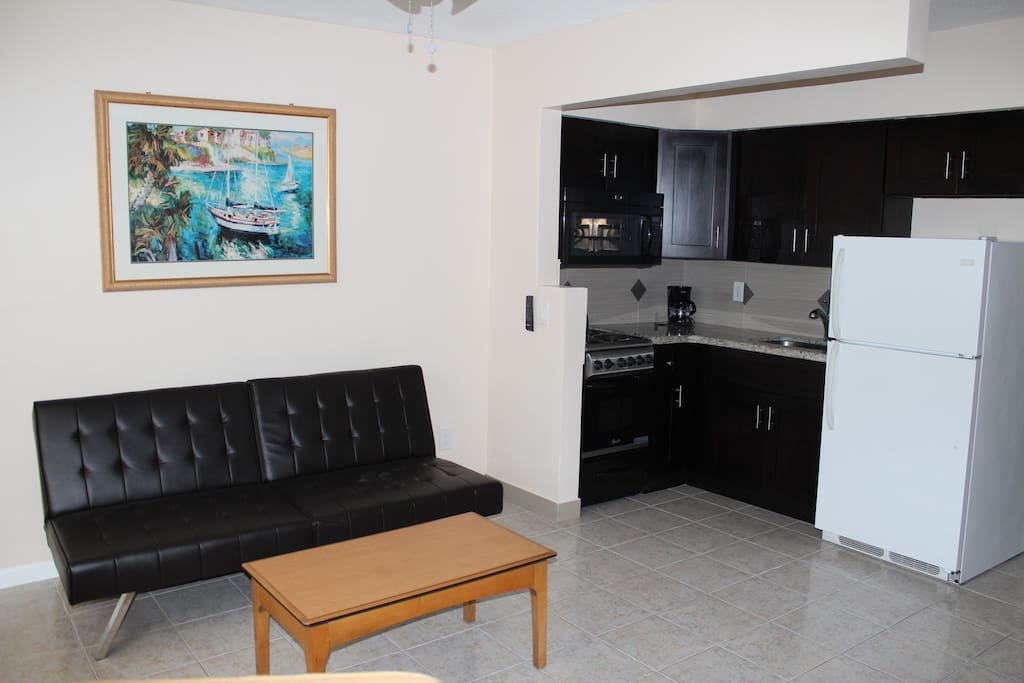 This is a Futon Couch &  Kitchen is fully equipped