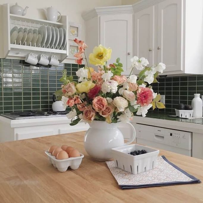 The kitchen is full of light and very quaint!