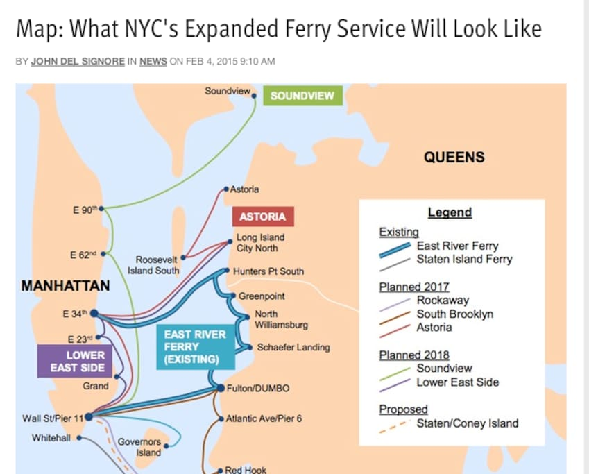 NYC Ferry Map