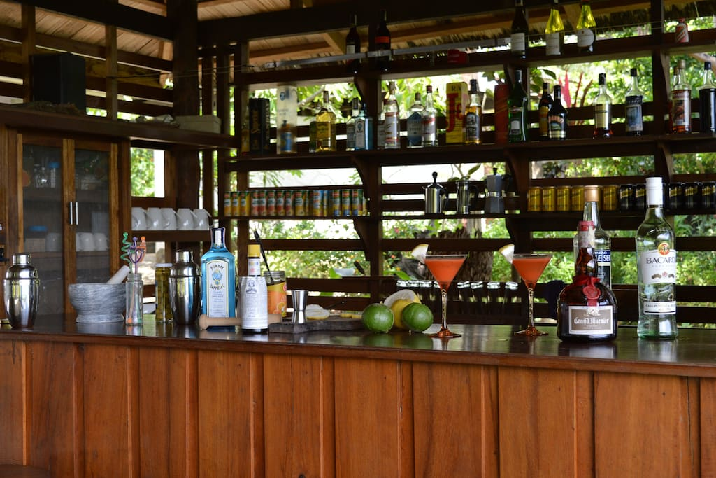 Our open air Bar. A favorite hang out spot for afternoons, sunsets and evenings.