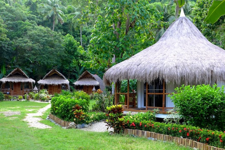 Beach front resort style in natural garden