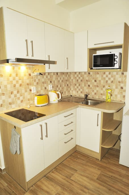 Kitchenette - there is touster, microwave, fridge, 2 rings hob, kettle and Delonghi Coffe Machine - tea and coffee is included. You will find there also salt & pepper & spicy, balsamico, ketchup and olive & classic oil.