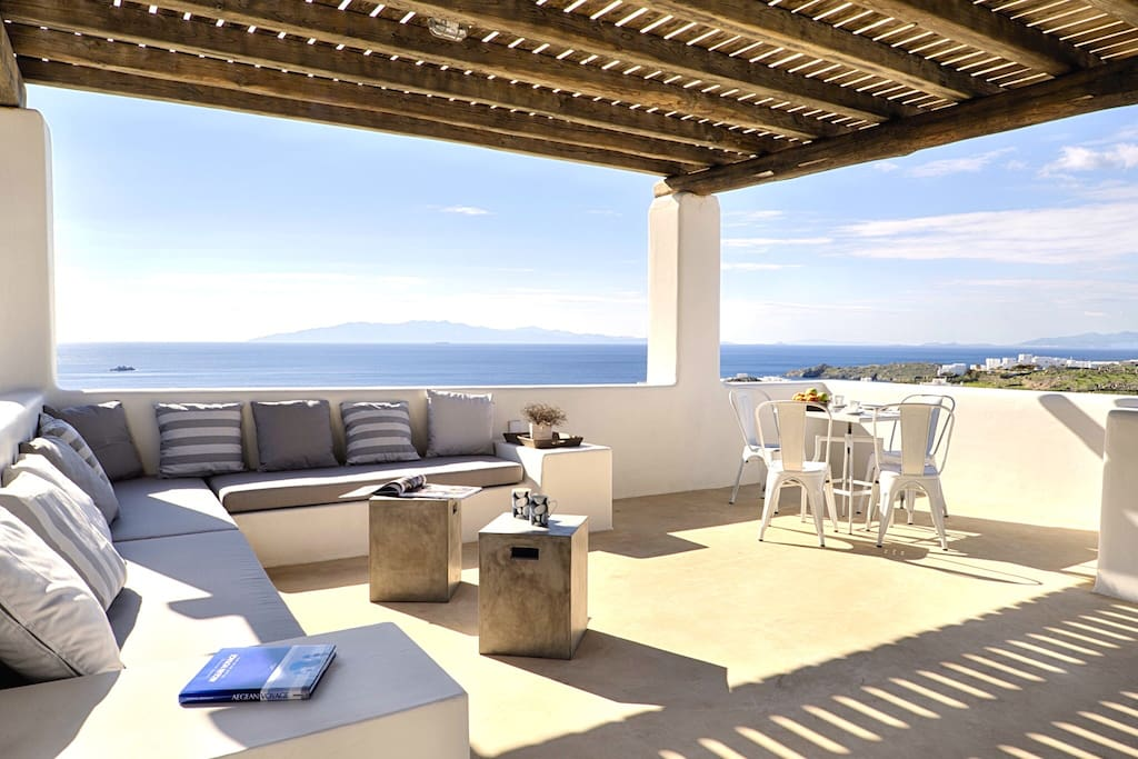 Master bedroom veranda. View of the infinite blue of the Aegean Sea