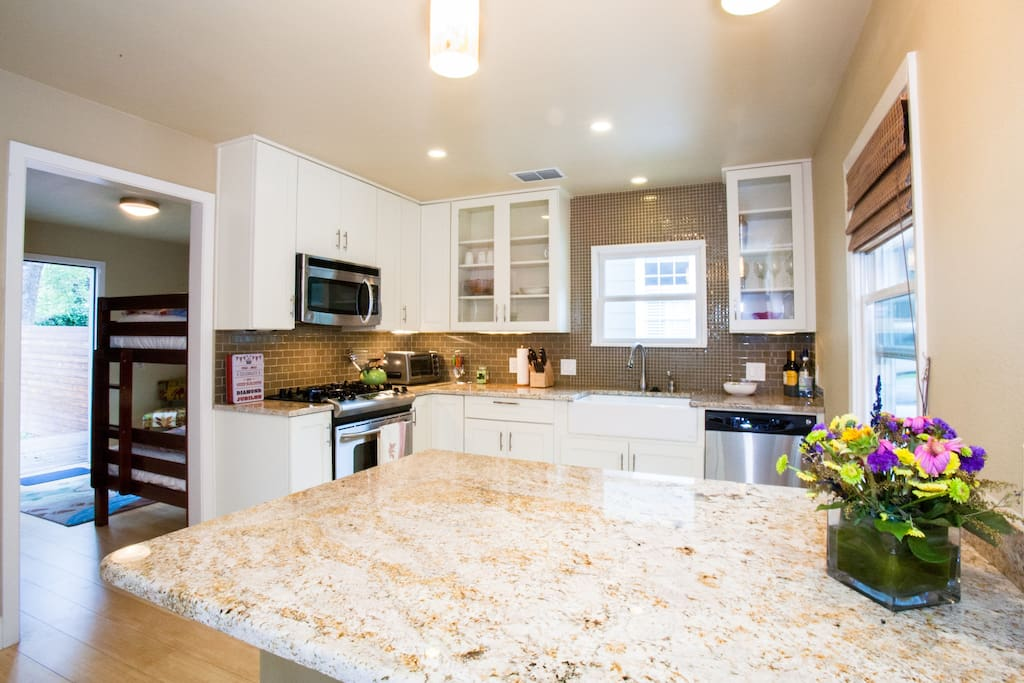 Remodeled kitchen-stainless steel appliances and granite countertops