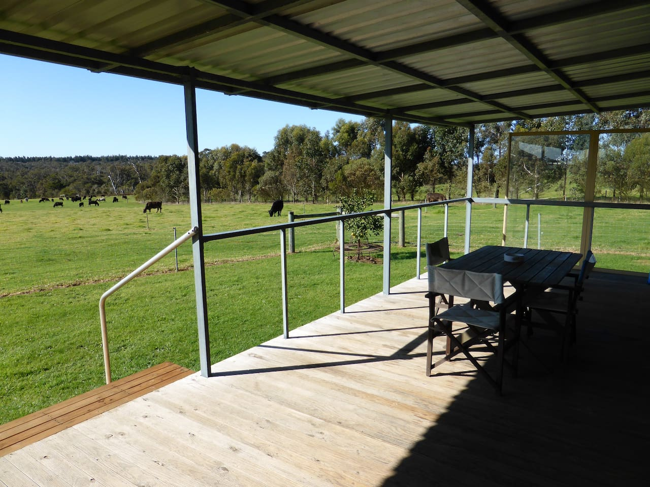 Decking with outlook across the paddock to Mt Lindesay