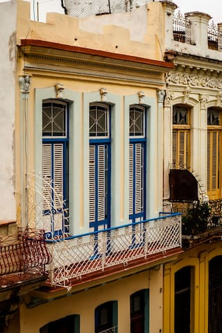 Top floor of the large 2 story classic Havana colonial building