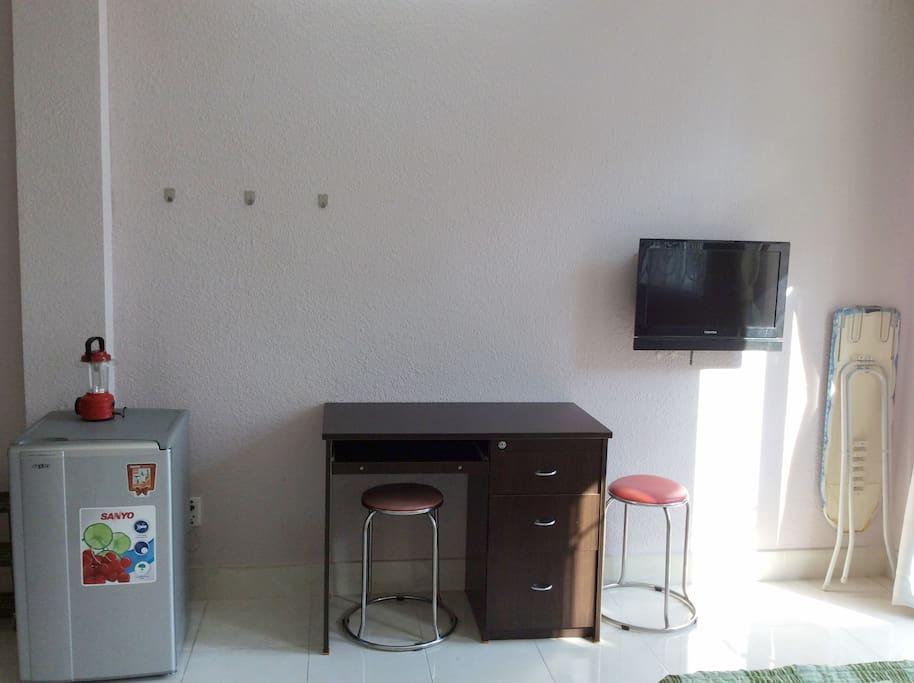 Desk, fridge, kitchenette, ROOM 302 - Small balcony and private bathroom (Deluxe room, biggest room)