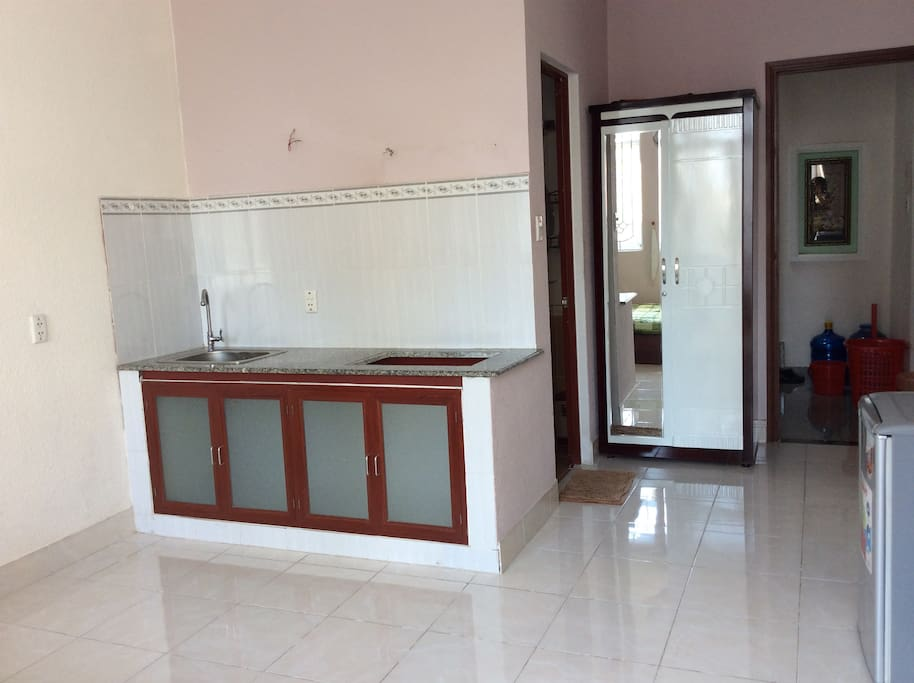 Desk, fridge, kitchenette (no stove), ROOM 302 - Small balcony and private bathroom (Deluxe room, biggest room)