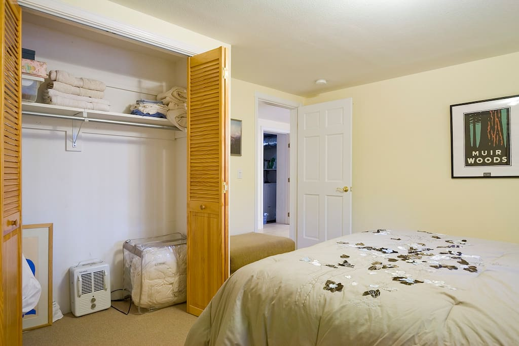 Plenty of closet space and extra linens