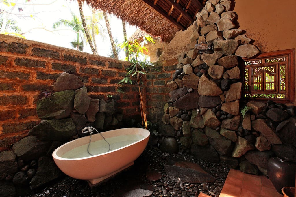 our jungle style bathrooms are both indoor and outdoor.