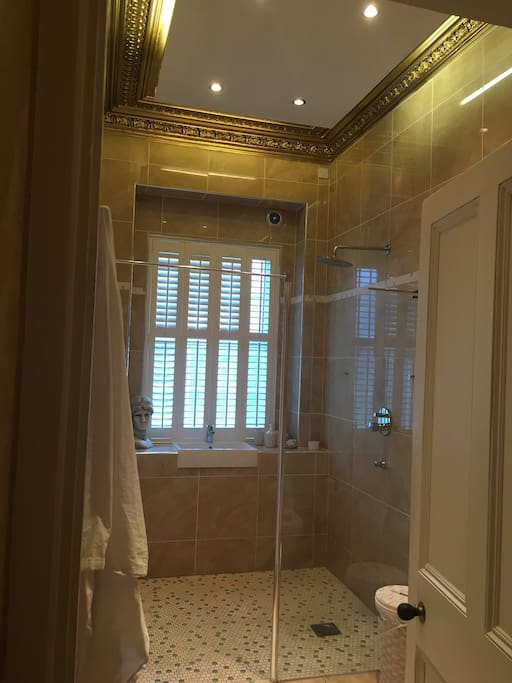 Wet room ,shower robes and toiletries