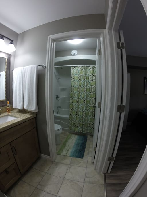 Washroom - one piece shower/tub