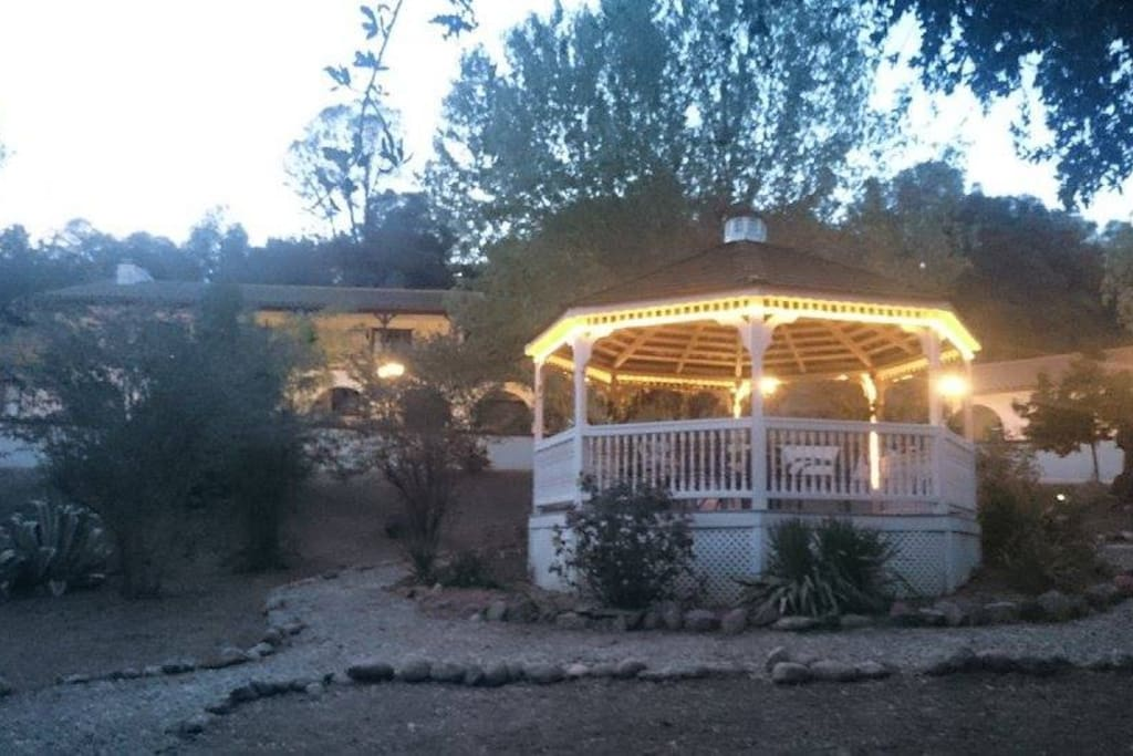 Beautiful evening in the Gazebo with the Hacienda in the background