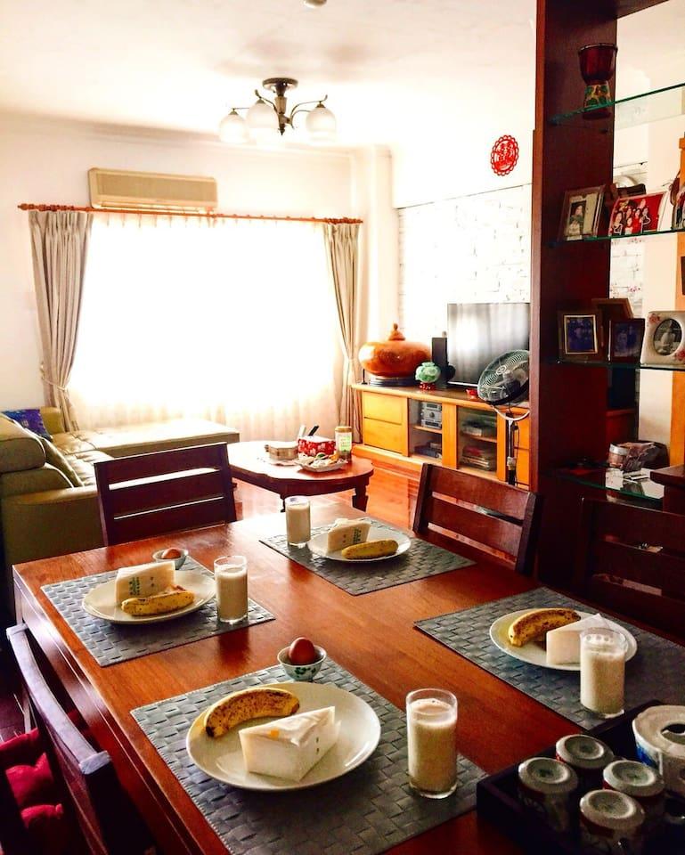 家庭式民宿,可共用的客廳,餐廳,像回家的感覺