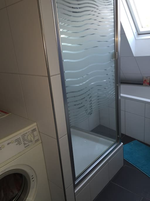 Bathroom with shower, bath tub and washing machine