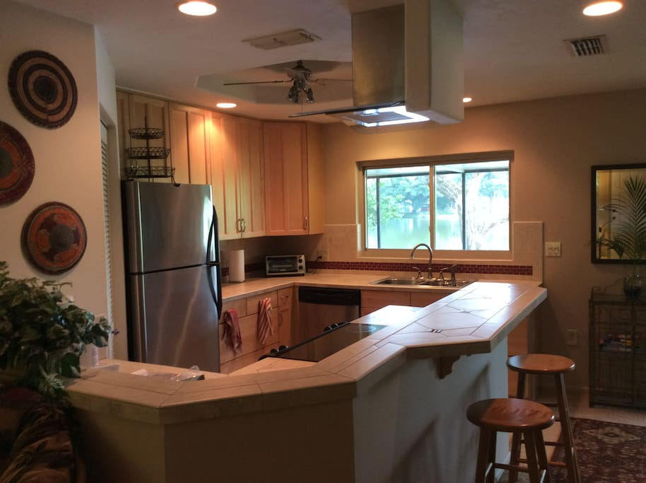 Updated kitchen with great lake view.