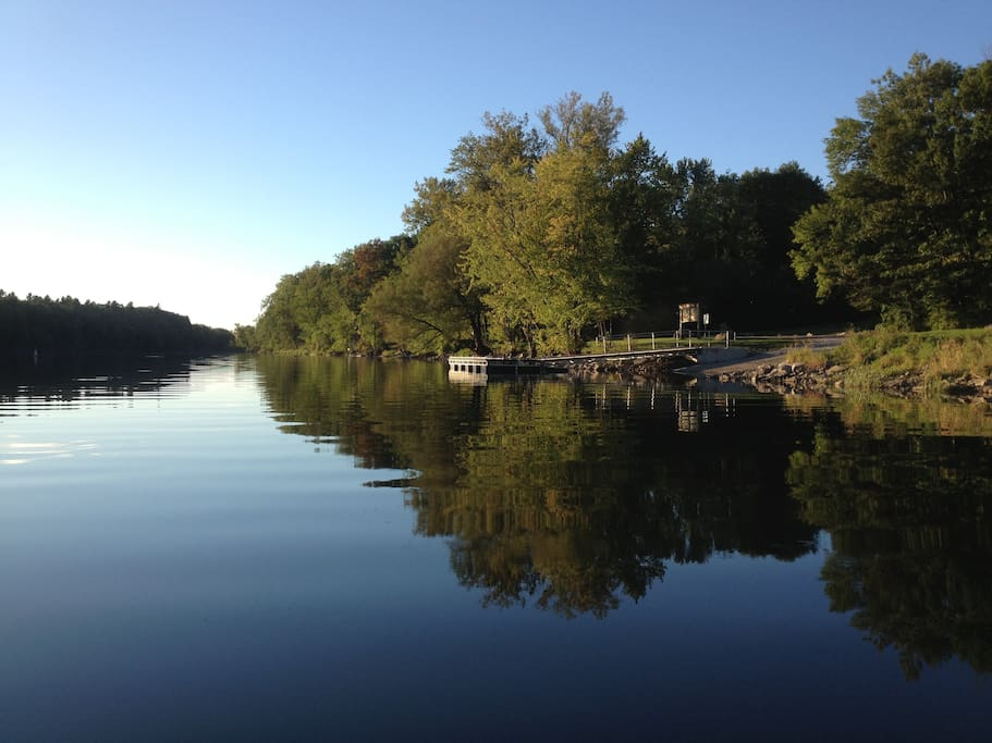 This great public dock and boat launch is a short walk down the charming dirt road.