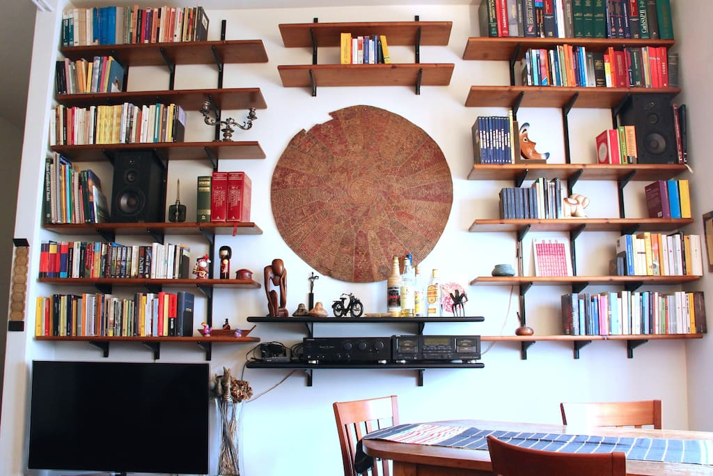 The beautiful bookcase in the living room