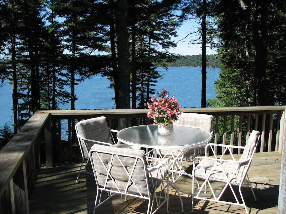 Enjoy outside dining from the deck