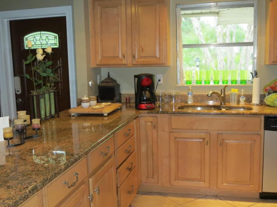 Kitchen with all modern appliances in our Florida home for rent.