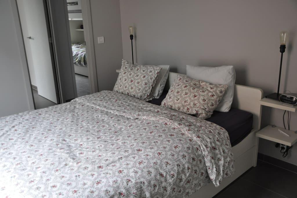 Master bedroom met aparte badkamer.