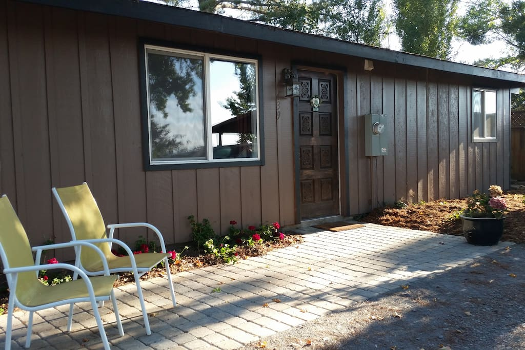 Enjoy the privacy in the shaded tree copse at your cabin location.