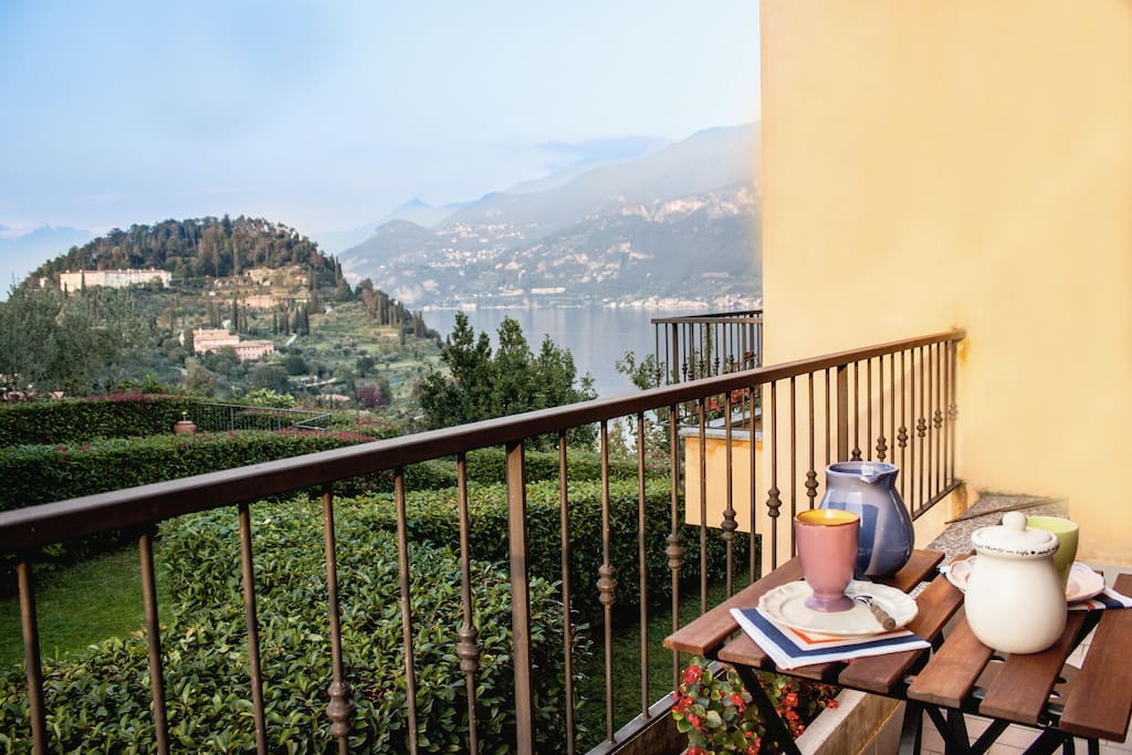 The stunning view from the balcony: Bellagio's promontory and Villa Serbelloni are right in front of you.