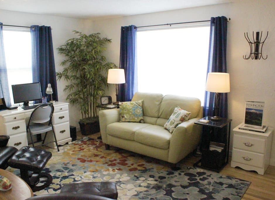 Picture window for plenty of light, with blinds and curtains for privacy