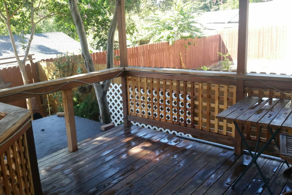 Shaded back deck opens out from kitchen