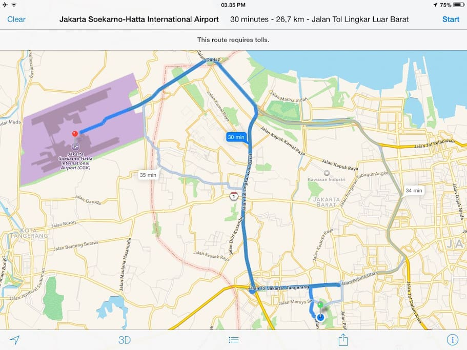 27 km from the Soekarno-Hatta International Airport. No need to go through the chaotic center area.