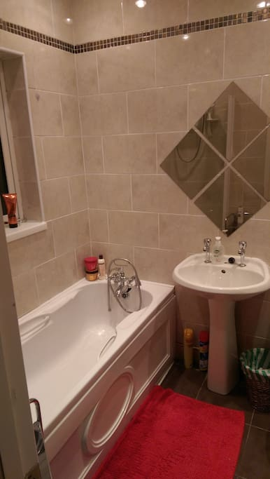 Private bathroom with electric shower