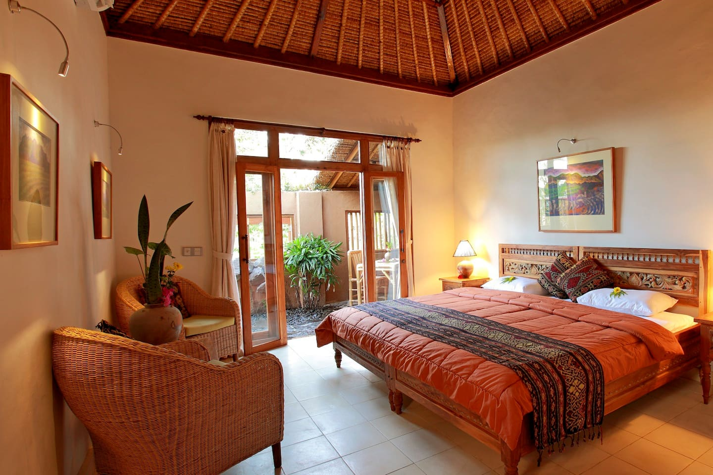 This is the self contained private hideaway with kitchen, courtyard and ricefield views