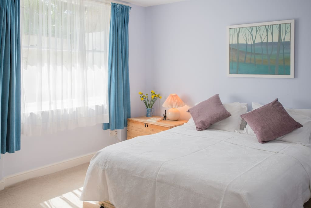 The queen size bed can be divided into twin beds if you prefer.