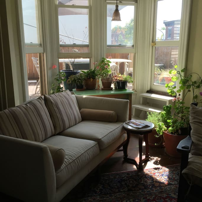 Wonderful, open living room area with deck access