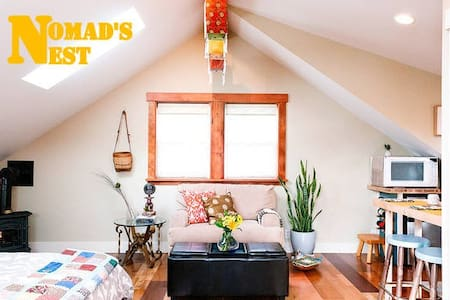 The NOMAD'S NEST is a private studio ideal for 2-3 people with a kitchenette, bathroom, hot tub, and back alley entrance.  It is an eco-friendly and globally inspired abode.  Welcome!