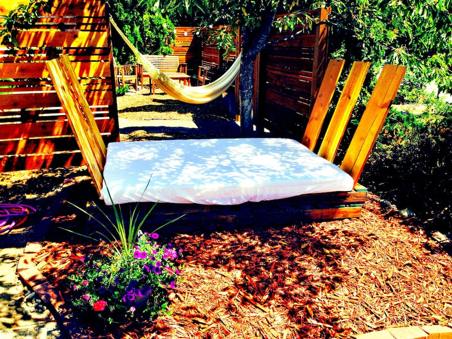 Outside patio bed to relax on