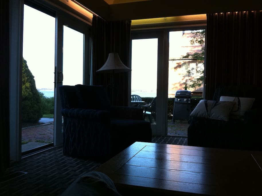 Glass Patio Doors on twos sides at Sunset with Narragansett Bay Views inside and on Patio