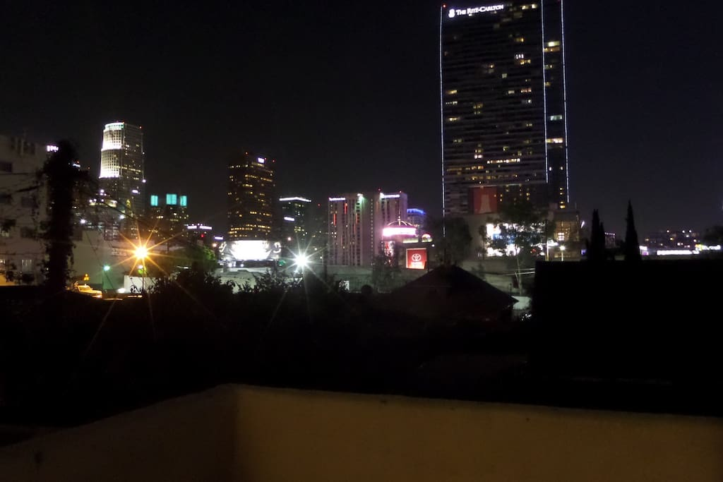 View of Downtown LA skyline from private terrace
