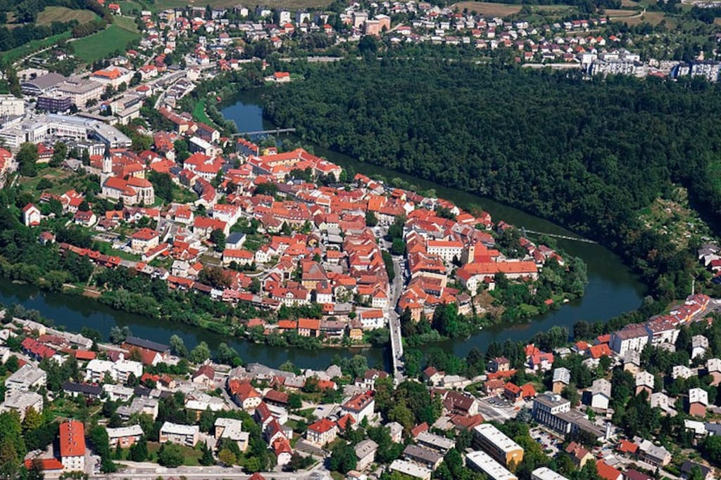 Old town of Novo mesto from above.