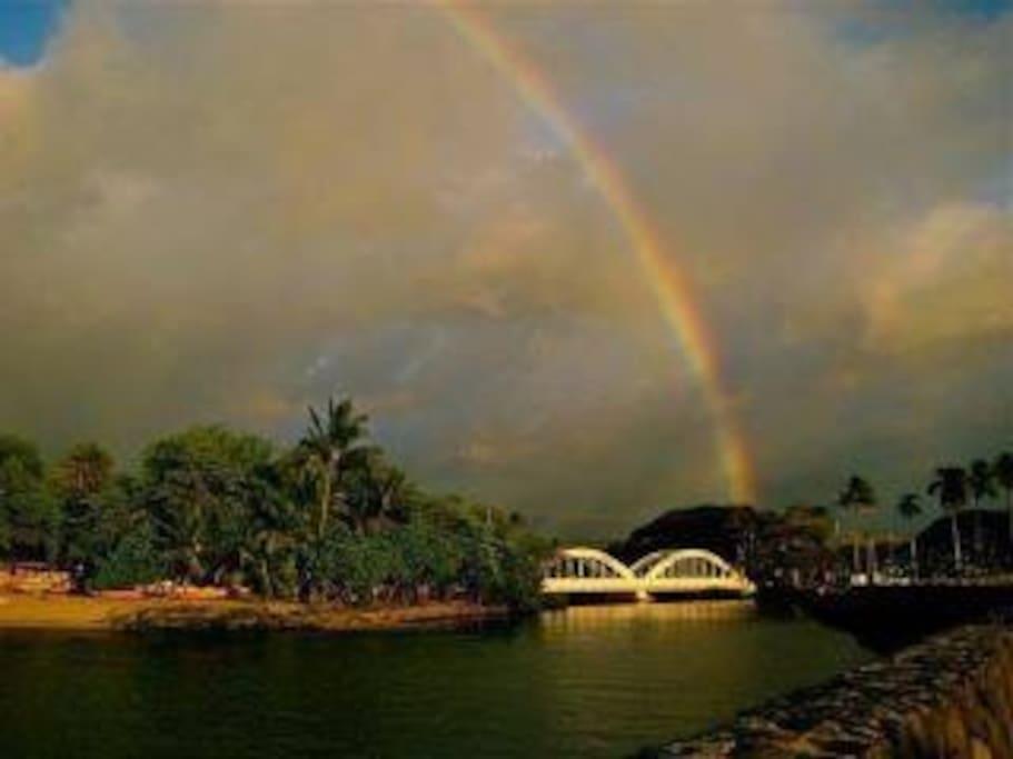 Anahulu rainbow bridge at Haleiwa town.  Photo credit: S. Fitzsimmons
