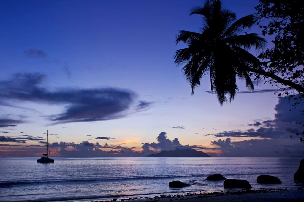 Sunset at the beach near apertment