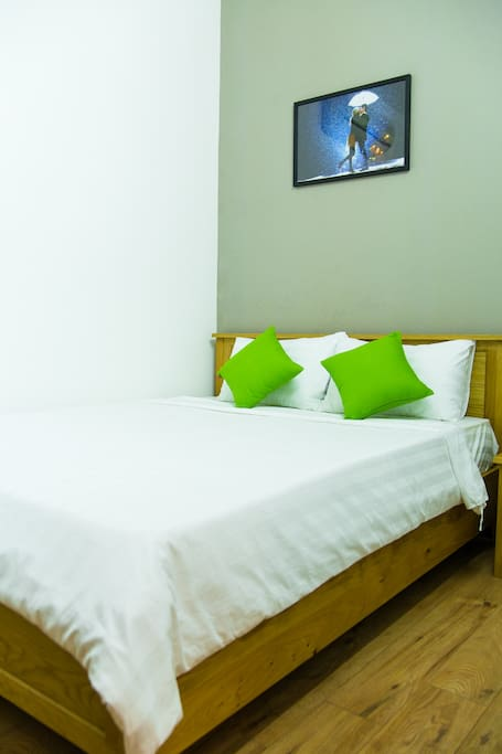 Our very comfortable queen sized bed in a private bedroom.
